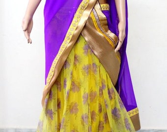 Floral Lehanga - Violet and Yellow