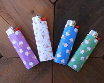 Ice Cream Cone stickers for bic lighter,  lighter wraps, lighter skin, lighter cover, lighter sticker, smoke, bic