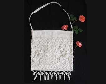 Medium White Hand Made Boho Bag Crochet Bohemian Bag , hand made French Tote bag on antique linen, Shoulder bag, beach Bag- Funny Tote Bag -