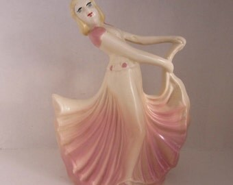 Vintage Pink Lady Girl Planter Figurine USA