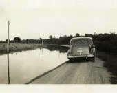 "Vintage Photo ""Flooded Road Home"" Flood Water Car Snapshot Antique Photo Old Black & White Photograph Found Paper Ephemera Vernacular - 136"