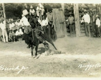 "Vintage Real Photo Postcard ""Rough Cowboy, Briggs Rodeo"" Antique RPPC Photo Black & White Photograph Found Paper Ephemera Vernacular - 105"