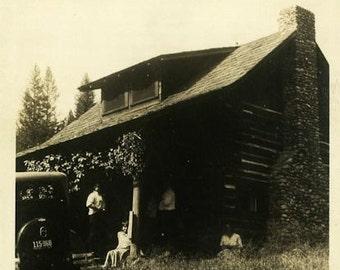 "Vintage Photo ""Cabin Love"" Snapshot Photo Old Antique Photo Black & White Photograph Found Photo Paper Ephemera Vernacular - 161"