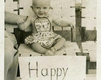 """Vintage Photo """"Her First Birthday"""" Sign Children Snapshot Old Antique Photo Black & White Photograph Found Paper Ephemera Vernacular - 168"""