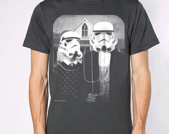Star Wars American Gothic parody on mens t shirt- american apparel asphalt, available in S,M, L ,XL, 2XL,  worldwide shipping