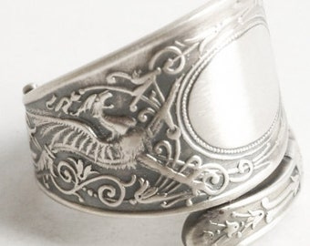 Griffin Ring, Sterling Silver Spoon Ring, Griffon Ring, Silver Dragon Ring, Sterling Dragon Jewelry, Engraved M, Adjustable Ring Size (6157)