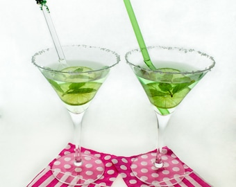 Frog on Clear Straight Glass Straw and Green Straight Glass Straw Set- Gift Set- FREE Cleaning Brush- FREE Gift Wrap- Glass Drinking Straws
