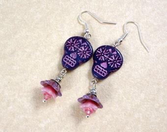 Sugar Skull Earrings - Purple and Pink Sugar Skulls - Day of the Dead Earrings, Dia de los Muertos - Pink and Purple Earrings