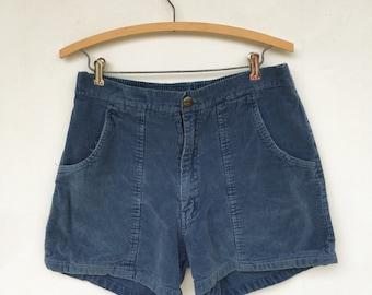 Vintage 70s Blue Corduroy Shorts Grapevine Size 34 M