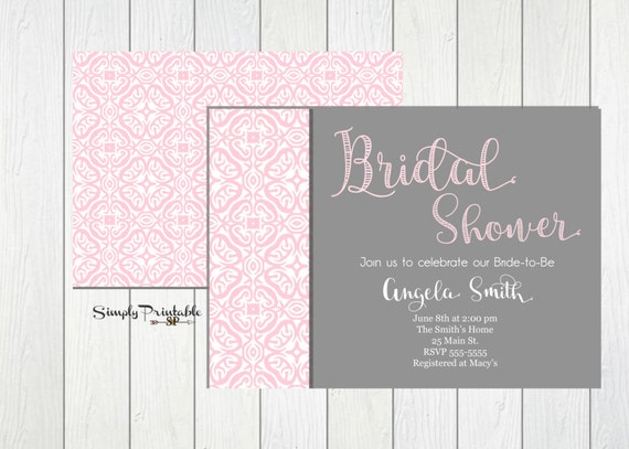 Bridal Shower Invitation, Pink and Grey Bridal Shower Invite, Modern Shower Invitation, Baby Shower Invitation, Printed Invites, Birthday