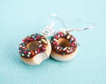 Nutella frosted donut earrings - Food Earrings - Rainbow sprinkles -  hypoallergenic (Surgical Steel) - Girls Earrings