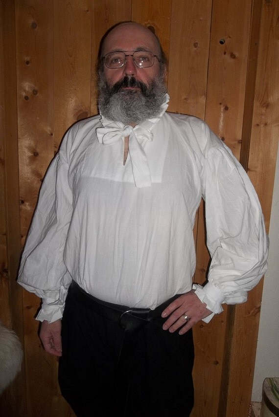 White cotton muslin Elizabethan shirt with full sleeves and a standing collar with a ruff.