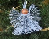 Blue Paper Angel, Tree Ornament, U-Pick Ribbon Trim, Blue Paper Lace Angel, Ribbon Angel, Christmas Ornament, Holiday Angel SnowNoseCrafts