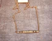 Vintage Brass Brooch Necklace
