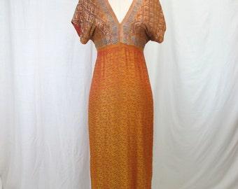 1970s Gold Metallic Indian Style Dress