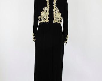 1960s Black Velvet Gold Embroidered Dress Nat Kaplan