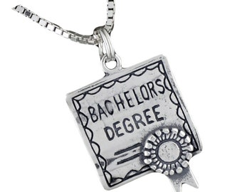 Sterling Silver Bachelor's Degree Diploma Pendant Necklace With 18 Inch Box Chain