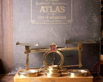 Antique S. Mordan & Co. Balance Scale with Original Weights - English Brass and Wood Postal Scale
