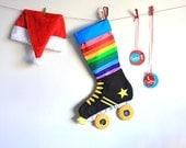 Skate Christmas Stocking:  Rainbow roller derby skate stockings