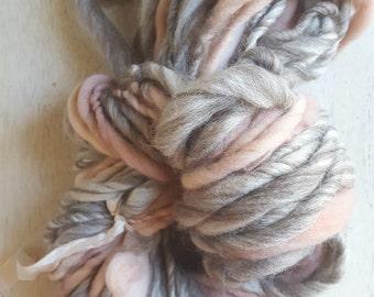 Soft Simple White Grey Peach Bulky Handspun thick n thin Wool soft knitting supplies Wool Light Grey crochet supplies fiber arts