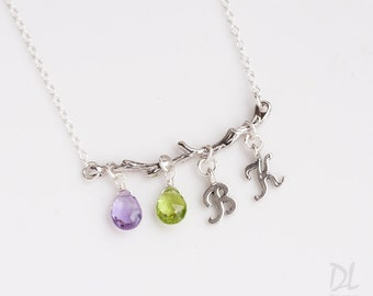Family Tree Necklace - Silver Twig Branch Birthstone Necklace - Personalized One of-a-kind Gift - Gifts for Wife - Gifts for Her