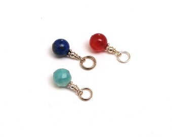 Set of gemstone sterling charms lapis lazuli, carnelian, purple amethyst, blue amazonite birthday budget friendly bridesmaids gift for her