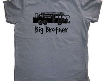 Big Brother Fire Truck Shirt - Kids Big Brother T Shirt - 5 Colors - Kids Big Brother T shirt Sizes 2T, 4T, 6, 8, 10, 12 - Gift Friendly