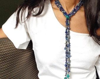 Lapis Lazuli Necklace, Turquoise Lariat Necklace, Blue Beaded Lariat, Statement Necklace, Turquoise Jewelry, Lapis Lazuli Jewelry