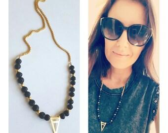 Black Lava Necklace, Geometric necklace, Lava Stone Jewelry,Boho necklace, Black And Gold necklace, Beaded Necklace, triangle necklace