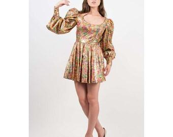 PARAPHERNALIA / Vintage psychedelic brocade mini / Leg o mutton sleeves S