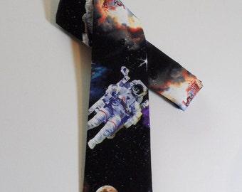 Shuttle Launch Skinny Tie // Outer Space, Geekery, Cotton Necktie, Silk