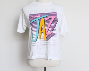 Vintage Thin Tshirt Small // New Orleans French Quarter Jazz 50 50 Tee // White Womens Shirt Small