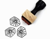 Rubber Stamp Triangle Hexagon Pattern - DIY Hand Drawn Triangle Patterns - Wood Mounted Stamp with Handle
