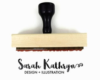 "Custom Rubber Stamp - Your Name & Title or Tag Line - Packaging Business Branding Stamp - Large/Long 1"" x 4"" Wood Mounted Rubber Stamp"