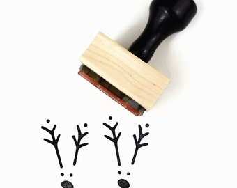 Minimal Reindeer Rubber Stamp - Wood Mounted Christmas Holiday Rubber Stamp