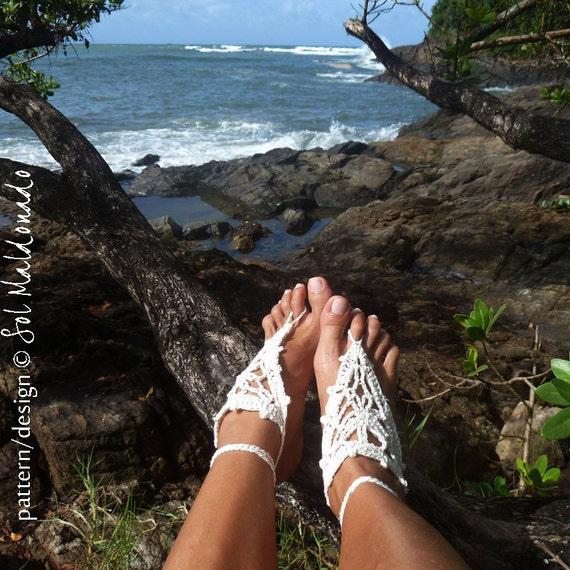 Barefoot Crochet Sandals Pattern PDF - beach wedding nude shoes sandles - Instant Download