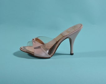Vintage 1950s Pink Springolator Shoes - High Heel Stiletto - Bridal Fashions Size 6