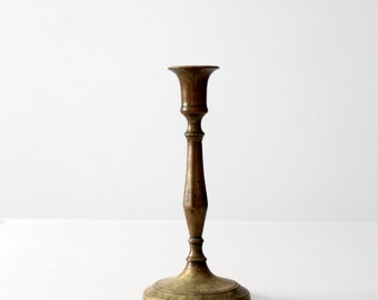 antique brass candlestick, baluster candle holder, taper candlestick
