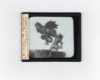 Amazing Antique Glass Slide / The Fight with Apollyon demon /Pilgrim's Porcess / Symbolism / Allegorical