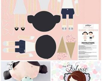 Riley Blake. Doll Panel. Rosie & Rowan - Boy and Girl soft dolls to make