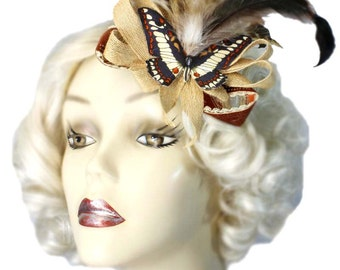 Butterfly Hair Clip Fascinator Elegant Feathered Victorian Steampunk Tea Party Cosplay