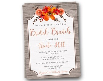 Fall Bridal Shower Invitation, Bridal Brunch Invitation, Bridal Shower Invite, Wedding Shower Invitation, Autumn Invitation, Fall Invite
