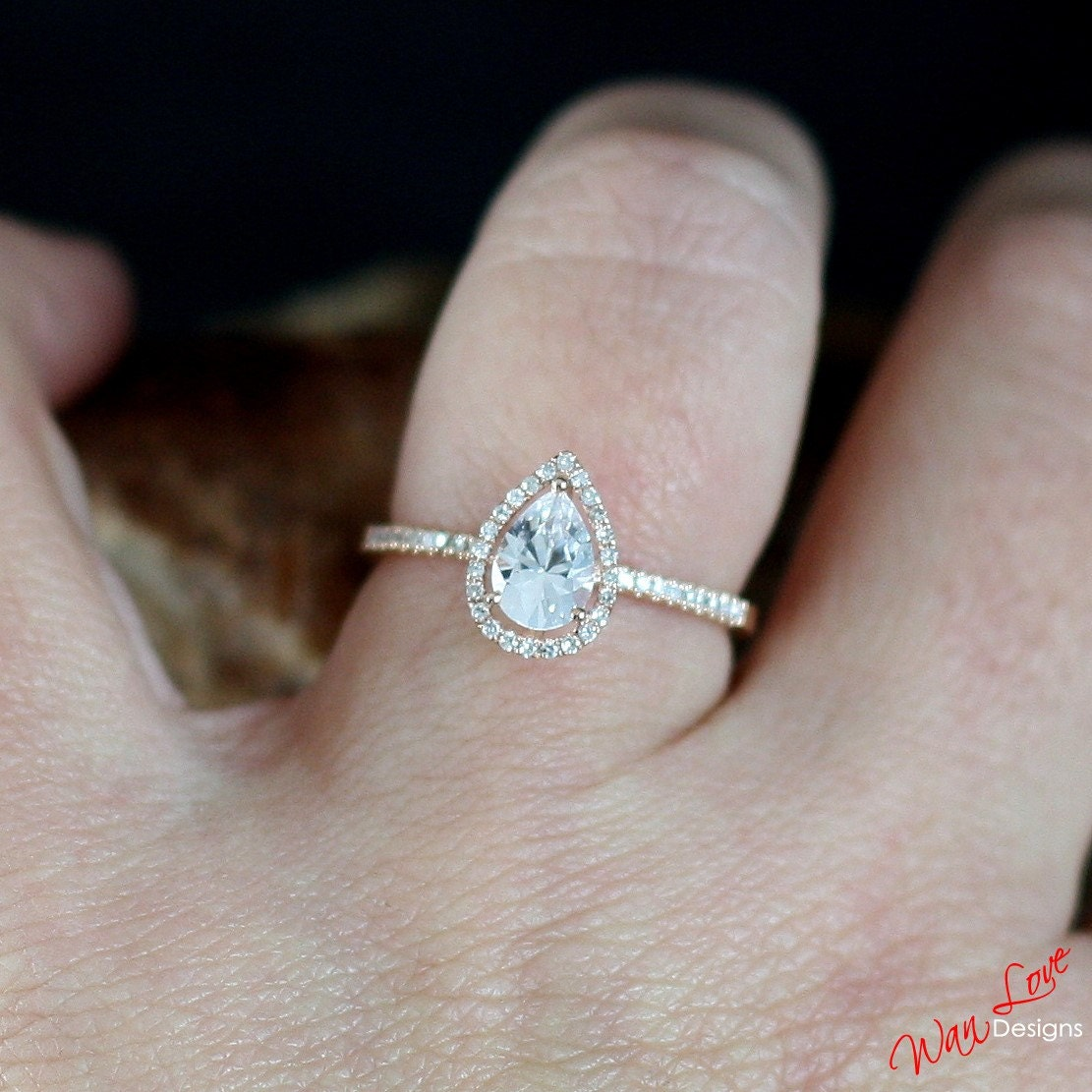 White Sapphire Amp Diamond Pear Halo Engagement Ring 1ct 7x5mm