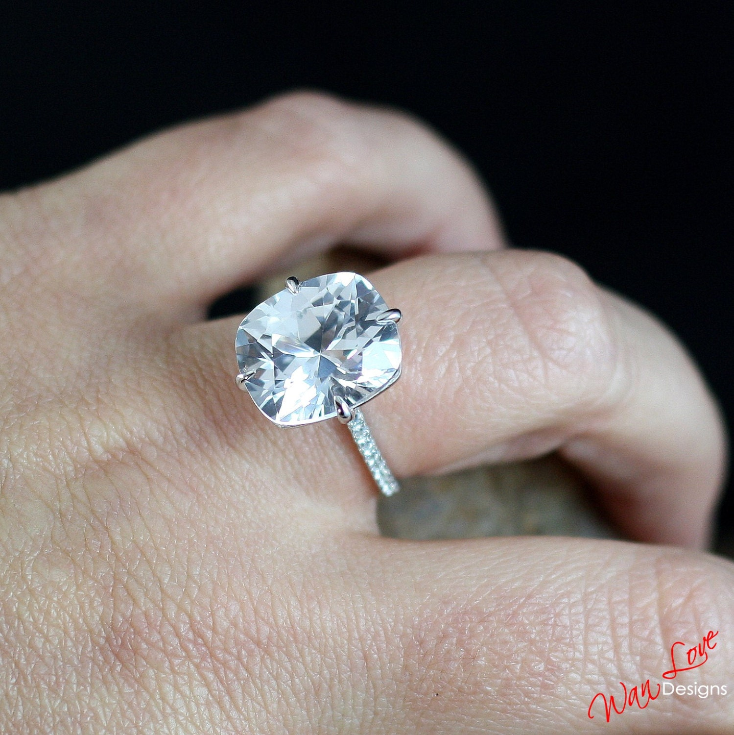 Custom Celebrity White Sapphire Elongated Cushion Engagement