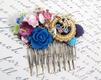 Pansy Wreath Vintage Jewelry Hair Comb - Vintage Hair Accessory