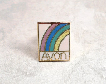 Vintage Avon Pin Rainbow Tack Award Brooch Enameled Gold Tone Retro Womens