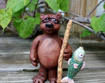 Brutus Bear Polymer Clay Sculpture
