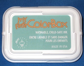 Mint Nontoxic Kids Ink Pad My First Color Box Washable Light Green Ink Pad for Kids Child-safe Ink Child Safe Stamp Pad Crafts for Kids