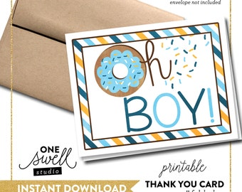 Doughnut Thank You Card Baby Shower Donut Note Card Thank You Notecard Instant Download Printable