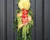 Spring Wreath Summer Wreath Teardrop Vertical Door Swag Decor Yellow Hydrangea Wispy Floral Swag Door Decoration Calla Lilies Peach-Coral